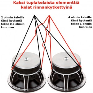 Kaksi tuplakelaista subbari kelat rinnan kytkettyinä