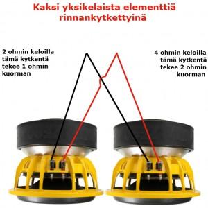 Kaksi yksikelaista subbaria rinnankytkettyinä